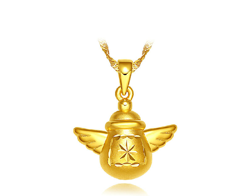 Authentic 999 3D 24K Yellow Gold Wing Feeding bottle Pendant BABY GIFT