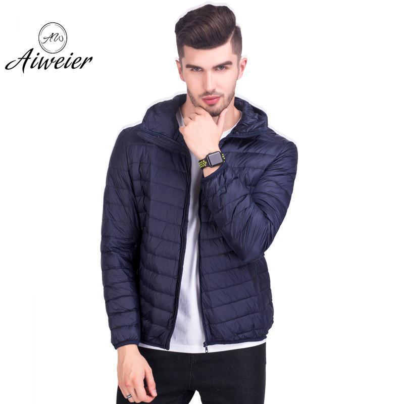 [Aiweier] Mens Down Jackets Ultralight Down Jacket Thin Zipper Solid Plus Size Loose Keep Warm Hooded Casual Male Coats Outwear