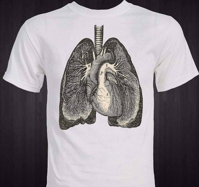 2018 mens del verano estilo marca manga corta pulmones anatomía ...