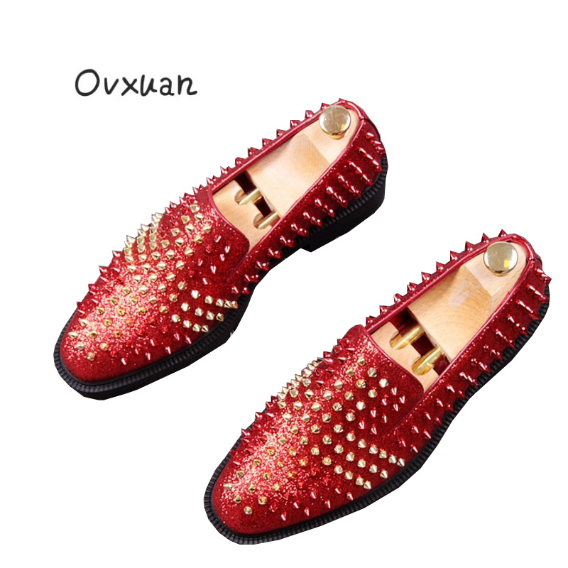 Ovxuan Handmade Men Rivets Shoes Fashion Party Wedding Sequins Red Bottom Men's Dress Shoes Casual slip on shoes Men Loafers ovxuan metal skull buckle handmade men ankle shoes punk party dress loafers glitter bright sequins men flats casual rivets shoes