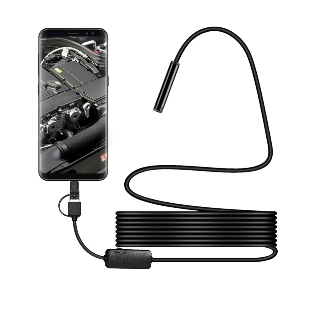 IP68 1200P Android 8MM Micro USB Type-c USB 3-in-1 Computer Endoscope Borescope Tube Waterproof USB Inspection Mini Video Camera