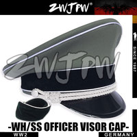 WW2 ARMY BLACK CAP WHIPCORD CLOTH LARGE BRIMMED CAPS WITH TWO BADGES DE/401133+