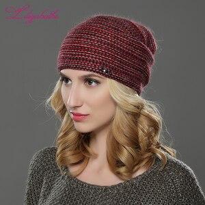 Image 5 - LILIYABAIHE חדש סגנון נשים בימס חורף כובע סרוג צמר אנגורה פסים כובעי מעודן מכתב קישוט כובע כפול כובע חם