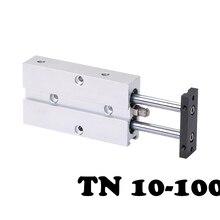 цены на TN10-100 Two-axis double bar cylinder cylinder Dual Guide Air Cylinder Type Double Shaft Rod Aluminum Alloy Pneumatic Cylinder  в интернет-магазинах