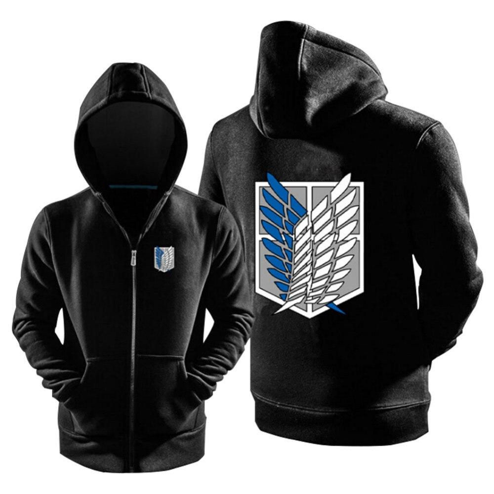 Attack on Titan Hoodies Cosplay Black Jacket Coats Costume Only With Jiyuu no Tsubasa Logo Warm Zipper Sweatshirt Hoody Cosplay