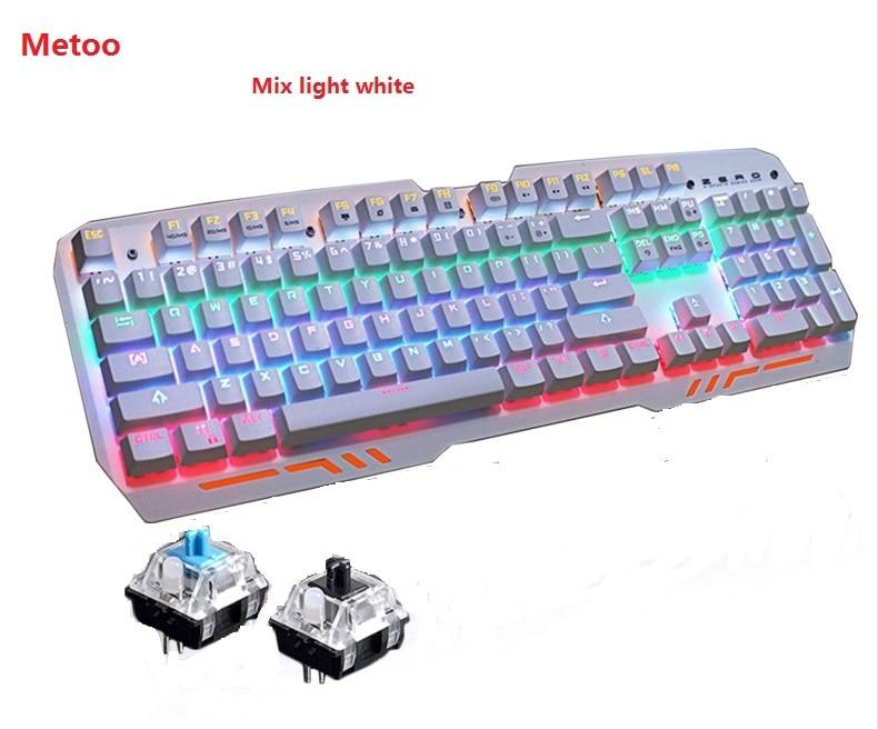 Metoo ZERO Z11 Mekanisk tastaturmus 104 taster Blue Switch LED Gaming tastatur Anti-Ghosting til Tablet desktop Computer