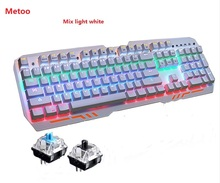 Metoo ZERO Z11 Mechanical Keyboard mouse 104 keys Blue Swap LED Gaming Keyboard Anti-Ghosting for Pill desktop Pc