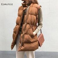 Winter Long Vest Women Parka Oversize Coat Thick Warm Jacket Tunic Sleeveless Vintage Waistcoat Autumn Outerwear LM080