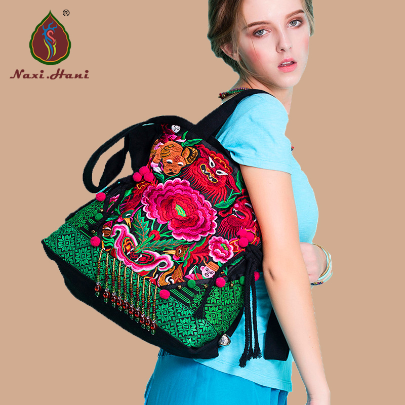 New arrival Thailand embroidered canvas women handbag Ethnic handmade Beaded tassel Vintage shoulder messenger bags original ethnic embroidered women handbag vintage handmade tassel shoulder bags black canvas casual large bags