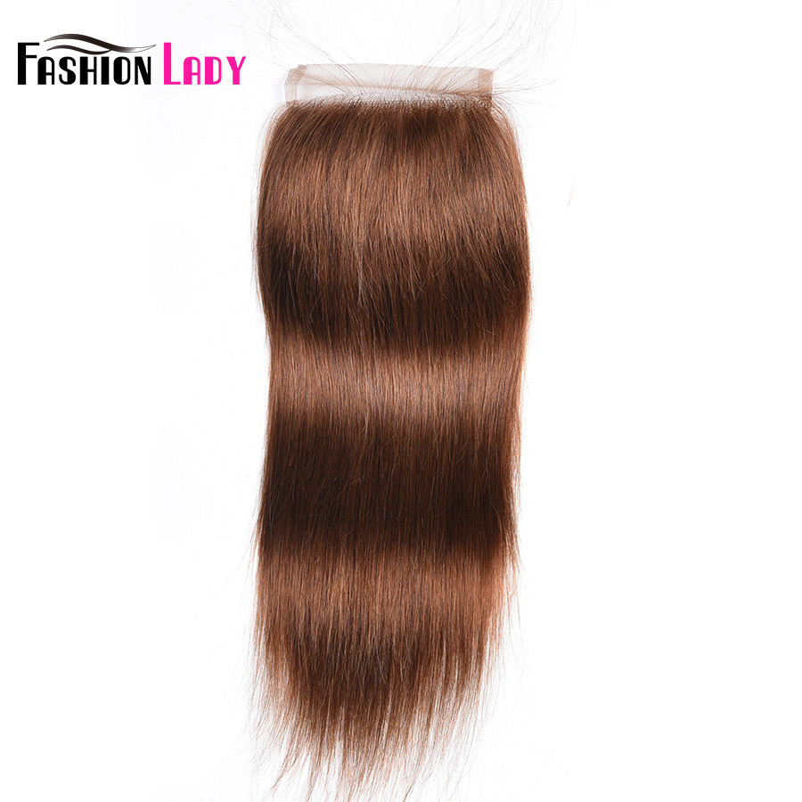 Fashion Lady Pre-Colored Brazilian Hair Lace Closure Size 4*4 Inch #4 Straight Human Hair Medium Brown Closure Non-Remy