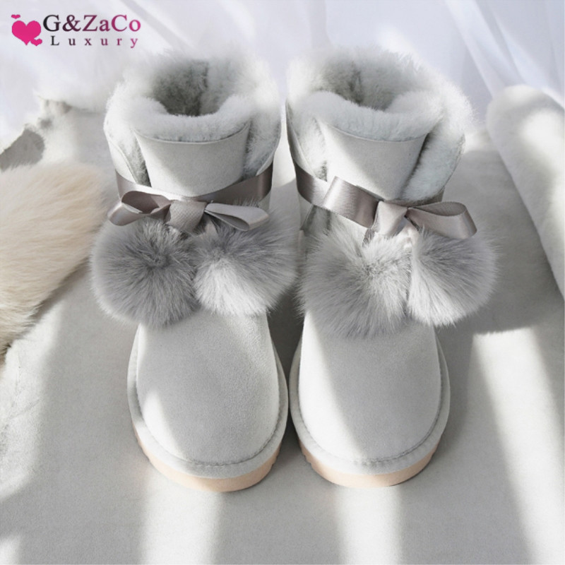 G Zaco Luxury Brand Sheepskin Boots Sweet Bow Fox Ball Flat Natural Wool Sheep Fur Short