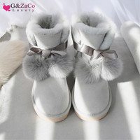 G&Zaco Luxury Brand Sheepskin Boots Sweet Bow Fox Ball Flat Natural Wool Sheep Fur Short Ankle Boots Winter Women's Shoes