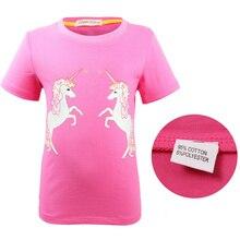 купить 2019 children's short-sleeved cotton T-shirt cartoon print girls casual home T-shirt tops по цене 359.92 рублей