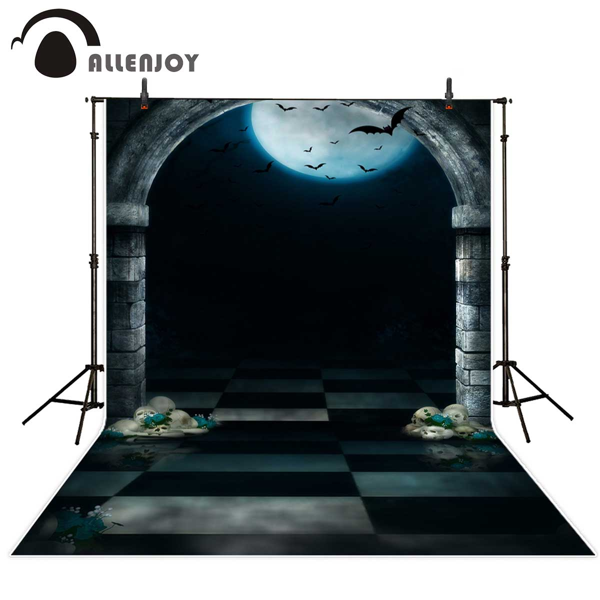 Allenjoy Halloween backdrop Bats Arches Skeleton Moon Night photographic background vinyl backdrops for photography
