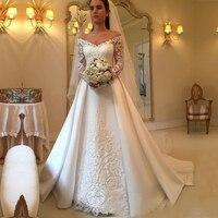 yiwumensa Vestidos de Novia Luxury Lace A line Dress Wedding 2019 Plus Size Wedding Gowns Satin Bride Dresses Robe De Mariee