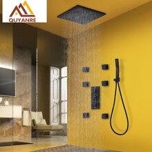 Quyanre Black Thermostatic Shower Faucets Kit Brass Shower Head 6pcs Massage SPA Jets 3 Way Thermostatic Mixer Tap Bath Shower