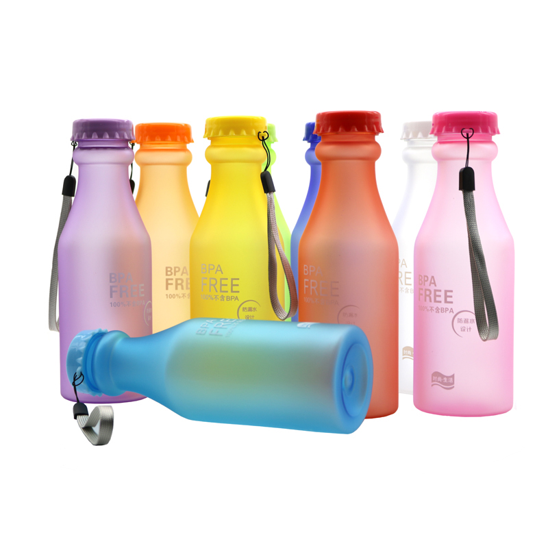 Candy-colored Frosted Plastic Portable Water Bottle Student Travel Home Office Safe Colorful Water Drinking Cup 1pc
