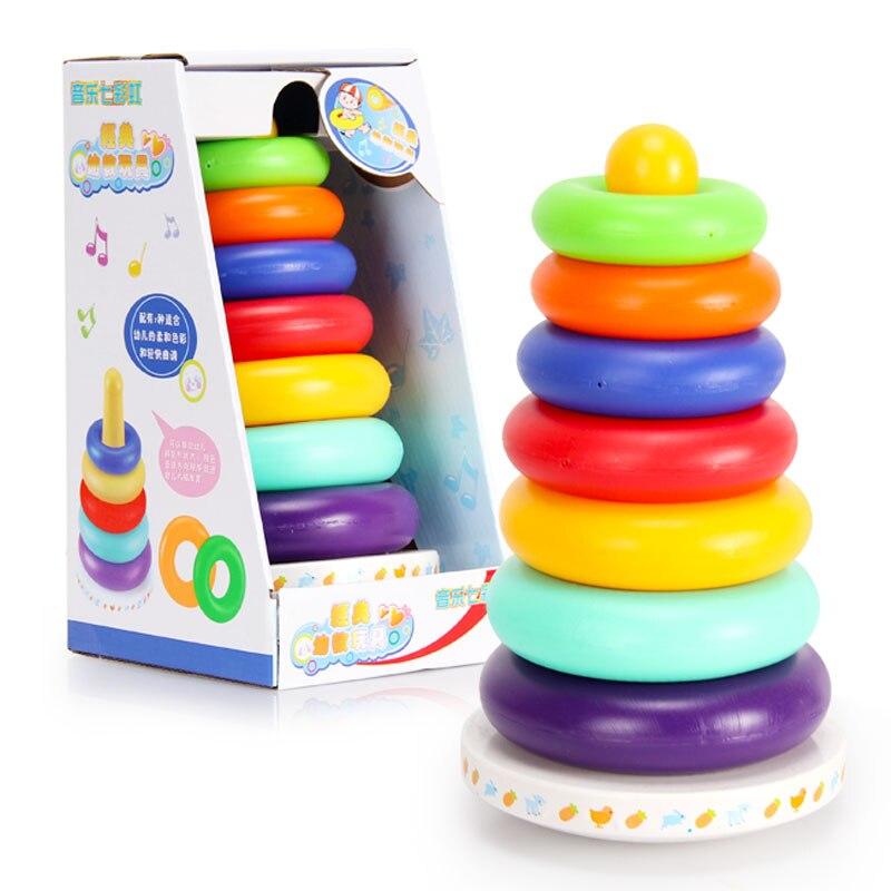 Купить с кэшбэком Plastic Buttressed Music toy Colorful ferrule tumbler baby infant educational toys