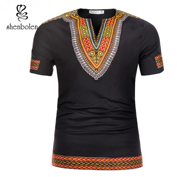 African Tradition Clothes Men's African Print Shirt Dashiki Fashion T-Shirt Tops