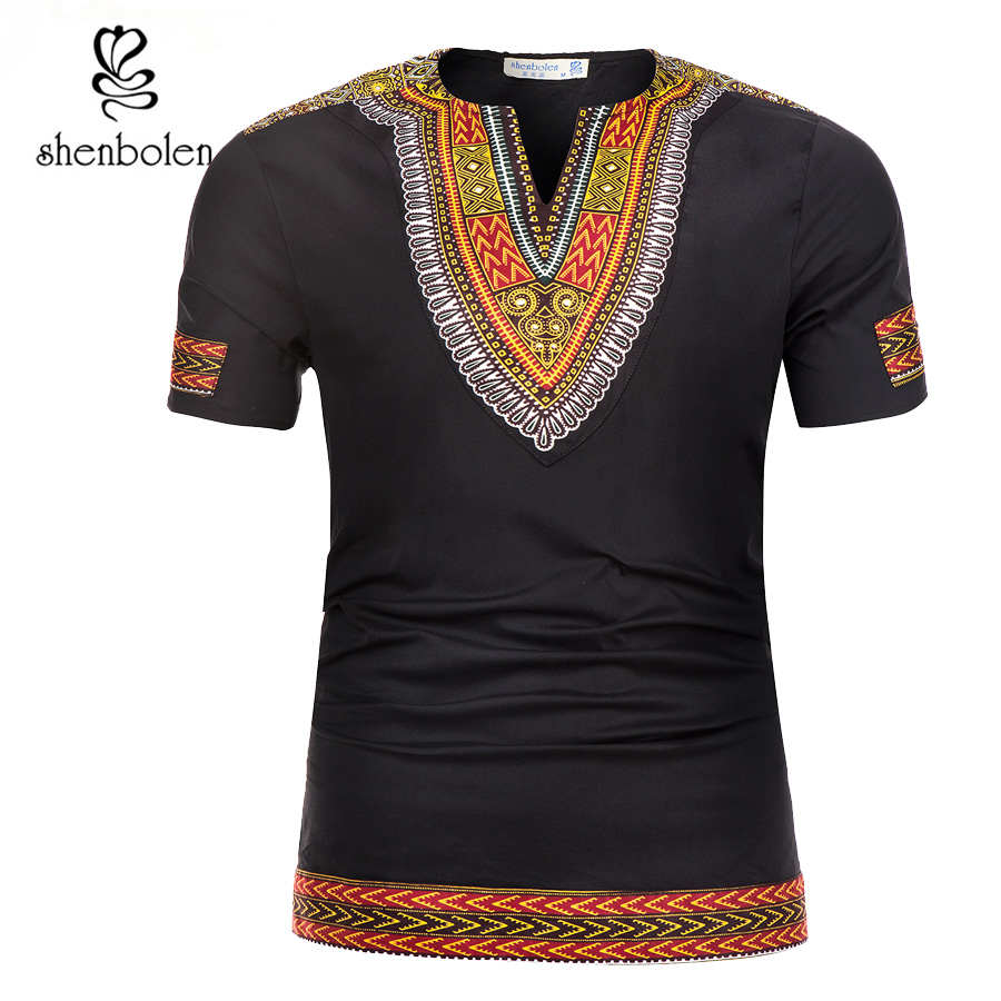 Shenbolen 2018 Estate Africano Tradizione Dashiki Degli Uomini Vestiti di T-Shirt Stampa del Tessuto Della Cera Abbigliamento Uomo Manica Corta Magliette e camicette Della Camicia