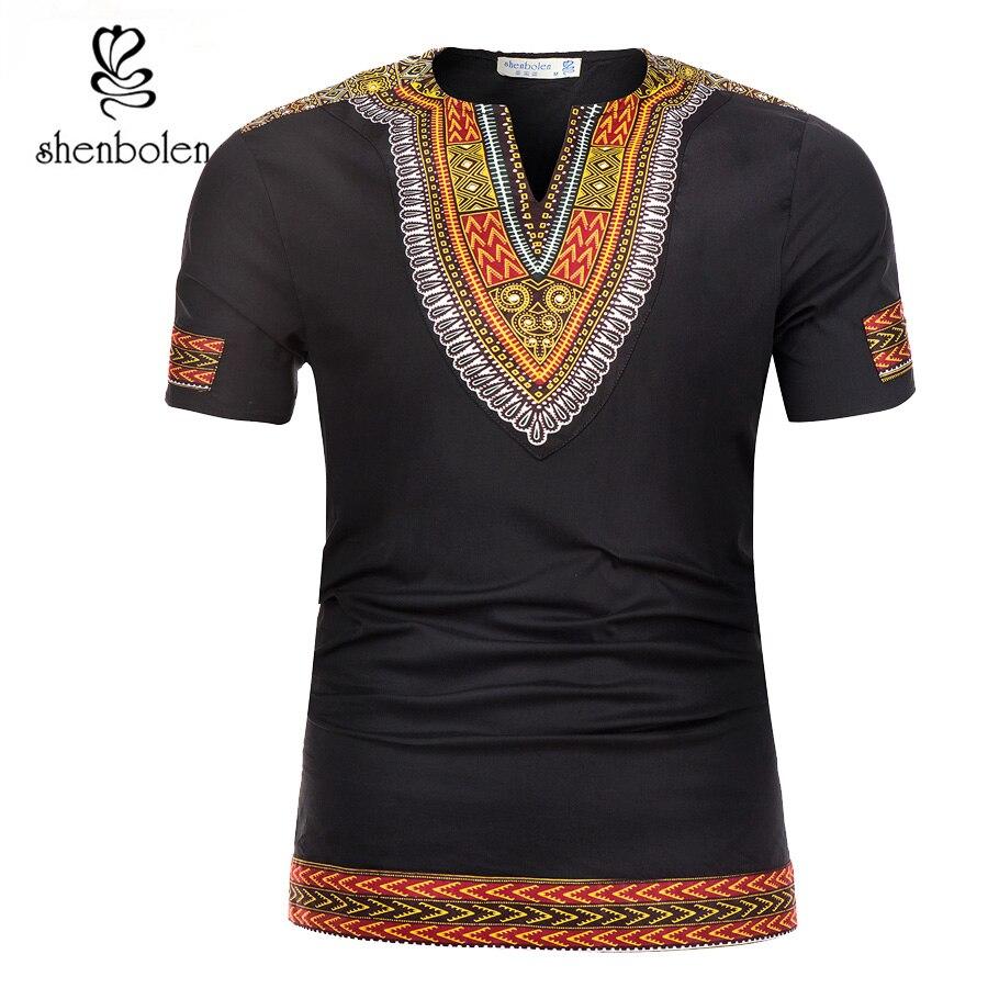 Shenbolen 2018 Estate Vestiti Africani Tradizione Dashiki T-Shirt Da Uomo cotto Cera del Tessuto Della Stampa Abbigliamento Uomo Manica Corta Magliette e camicette Della Camicia