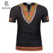 Shenbolen 2018 verano ropa africana tradicional Dashiki hombres camiseta cotto cera impresión Hombre Ropa manga corta Camiseta
