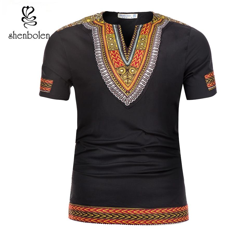 Shenbolen 2018 Лето Африканской традиции Дашики Для мужчин одежда футболка ткань воска печати Человек Костюмы короткий рукав Футболка