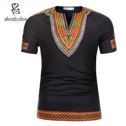 Shenbolen горячая Распродажа африканская традиционная одежда мужская африканская рубашка с принтом Дашики модная футболка мужские топы