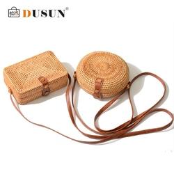 DUSUN Summer Women Handmade Round Bamboo Handbags Rattan Bags Circle Box Bali Bohemian Beach Totes handbags Knitting Straw Bag