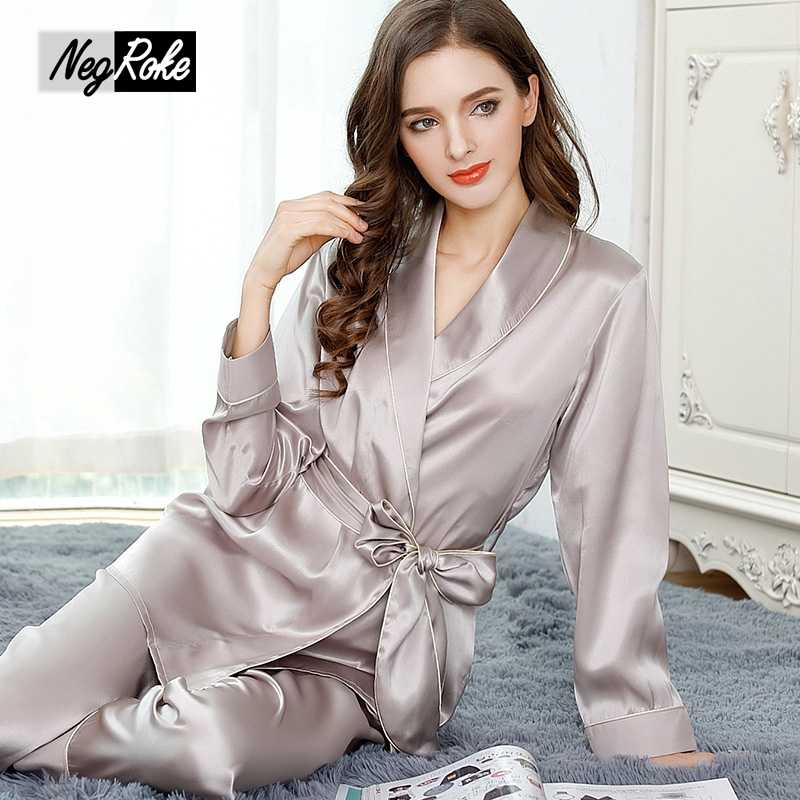 271a89decf Elegant 100% silk autumn V-neck sexy Robe Gown sets for women silky noble