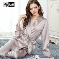 Elegant 100% silk autumn V neck sexy Robe Gown sets for women silky noble nightdress women nightwear sleepwear autumn design