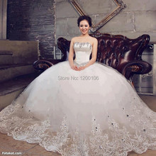 Luxury Strapless Ball Gown with Beads Crystal Embroidery Princess Wedding Dresses 2014 Vestido