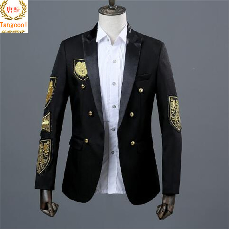 male Gothic men's medals suit autumn dress double breasted medal red and black wedding dress men's military Suit Jacket