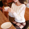 Free shipping New fashion Pullovers sweater High quality sweet rose embroidery lace mohair sweaters Unique design S136