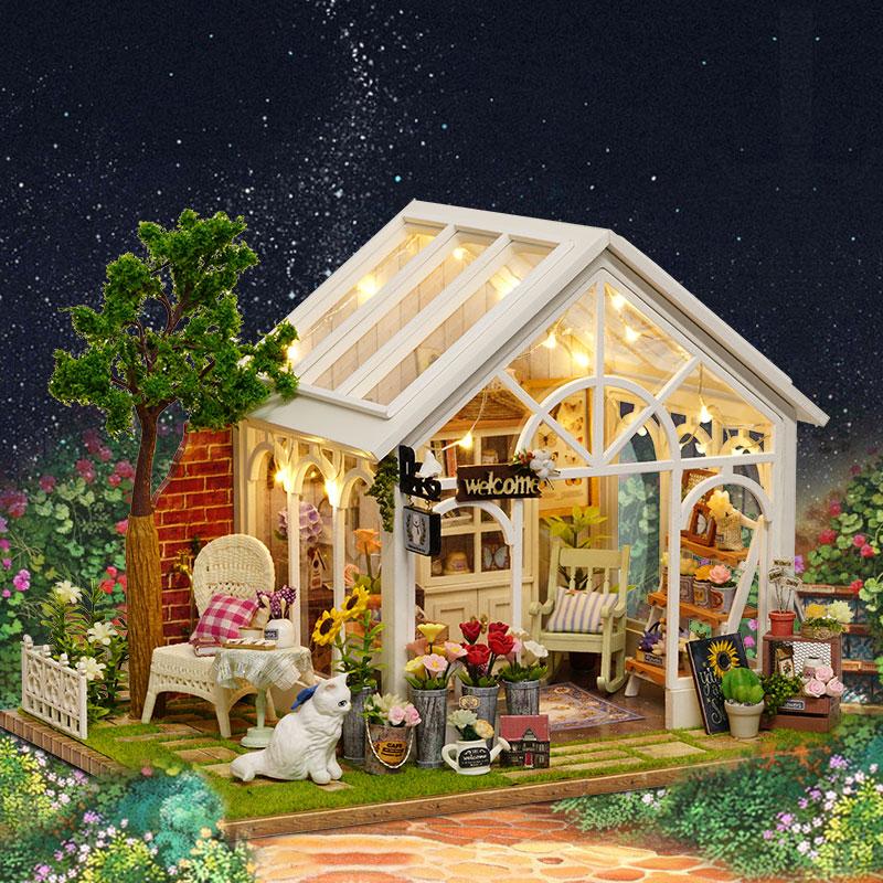 Soleil serre fleur magasin bricolage maison de poupée assembler musique couverture lumière 3D en bois Miniature maison de poupée meubles jouets pour enfant