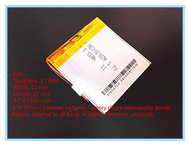 Free shipping 3.7 V lithium polymer battery 1500 mah rechargeable batteries treasure navigation tablet phone 316167