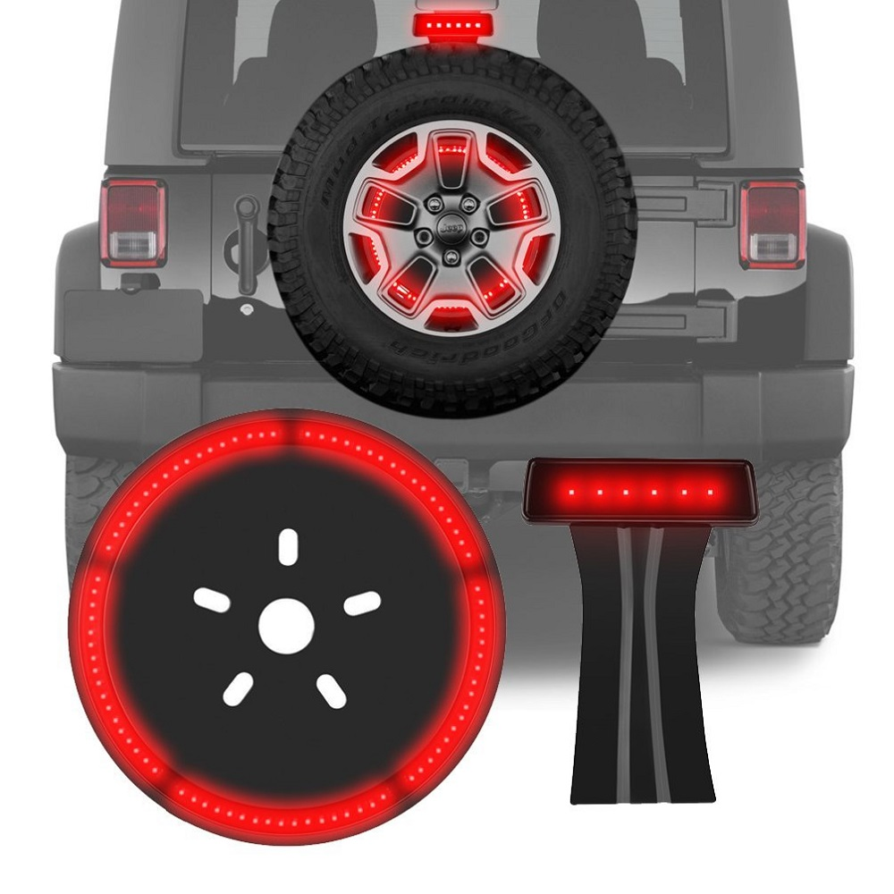 Third Brake Tail Light Rear High Mount Brake Stop Light & Spare Tire Brake Light for 07-16 Jeep Wrangler JK Smoke Lens