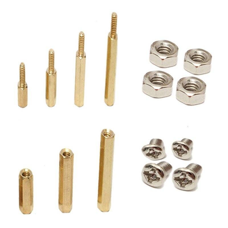 120Pcs M3 Male Female Brass Standoff Spacer PCB Board Hex Screws Nut Assortment 100 pcs m3 male female brass hex stand off pcb spacer pillar 8mm