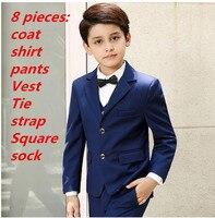 8 suit for boy Single Breasted boys suits for weddings costume enfant garcon mariage boys blazer jogging garcon black dark blue