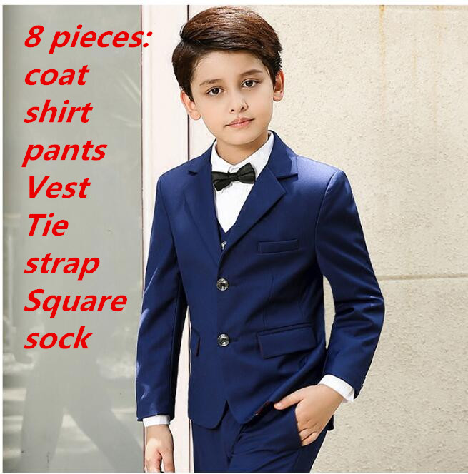 8 suit for boy Single Breasted boys suits for weddings costume enfant garcon mariage boys blazer jogging garcon black dark blue single breasted lapel flap pocket business blazer