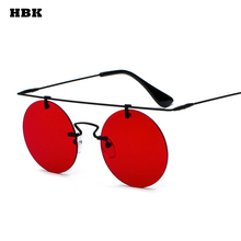 HBK 2018 Newes Ladies Fashion Round Sunglasses Men Retro Metal Black brown Purple red frameless Sun Glasses Female UV400