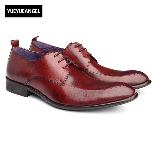 b5aec1a190c2 Pointed Toe Mens Footwear Autumn New Fashion Genuine Leather Male Wedding  Shoes British Lace Up Sapatos De Casamento Chaussure