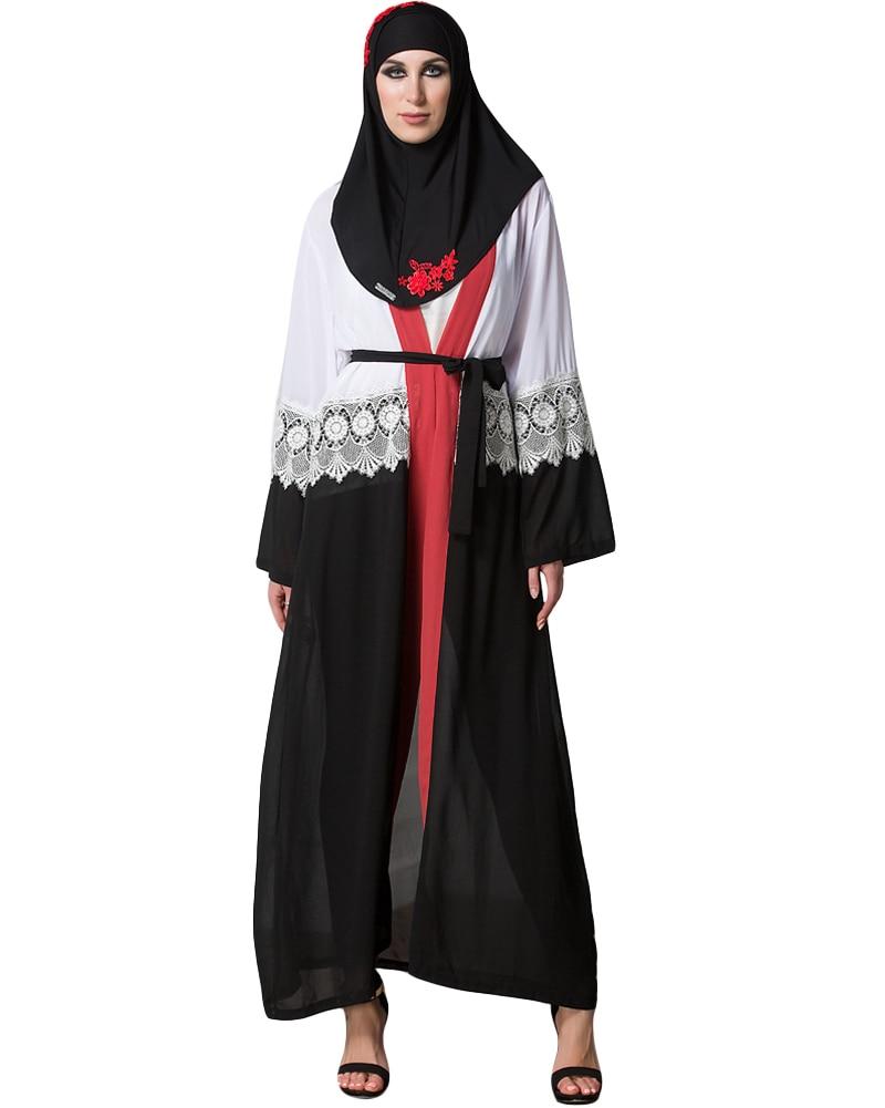 717f22b1227 Abaya Cardigan women chiffon muslim robe abaya cardigan lace plus size dress  long