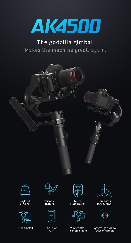 Image 5 - FeiyuTech AK4500 Camera Stailizer 3 Axis Handheld Gimbal for Sony/Canon/Panasonic/Nikon,Payload 10.14lbHandheld Gimbal   -