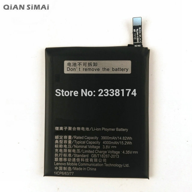 QiAN SiMAi 1pcs 100% High Quality 4000mAh Battery For Lenovo P70-a P70a Mobile Phone Freeshipping + Tracking Code