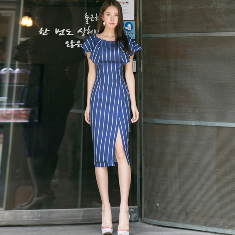 2018 New Summer Women dress High Waist Striped Openk Sexy Bales Hip Elegant Aristocratic Ol Profession Dresses Blue 839
