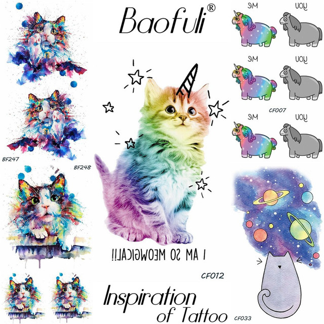Temporary Cartoon Animals Tattoo Flash Cat Unicorn Water Transfer Fake Tatoos Stickers Girls Birthday Gifts Body