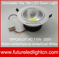 Dimmable LED COB Panel light ceiling lights 1800 Lumen 15W 18W LED Down Lamp Real High Power New Arrival