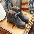 Nueva moda de primavera y otoño de la mujer zapatos de tacón cuadrado de encaje para arriba botas del tobillo para las mujeres zapatos de las señoras ocasionales botines mujer 2017