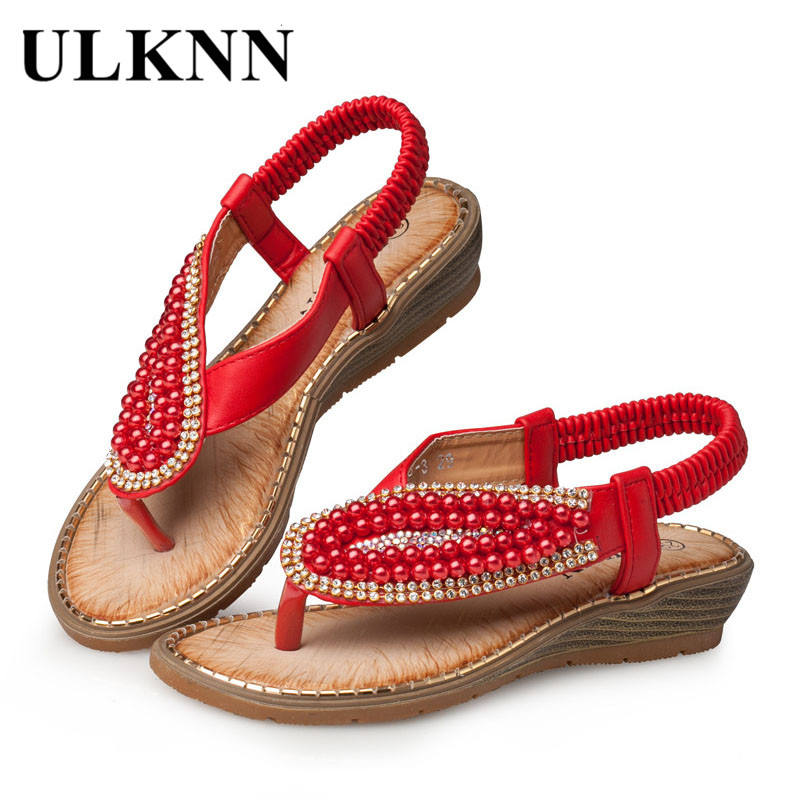 ULKNN Red Peal Sandals For Girls Sandals Children Red Pearl Beading Wedges Beach Sandals Enfants School Shoe 26-30 Baby